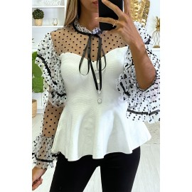 Top blanc super chic à petit pois