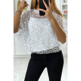 Blouse blanche 2 en 1 en filet pailleté